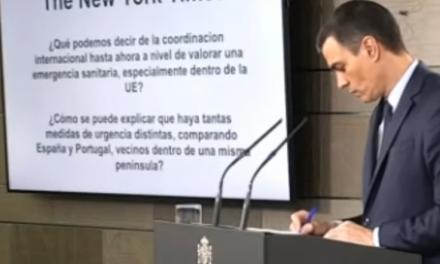 """<span class=""""entry-title-primary"""">O New York Times questiona coordenação ibérica na luta contra o coronavírus</span> <span class=""""entry-subtitle"""">Aconteceu durante a conferência de imprensa do presidente do Governo espanhol  </span>"""