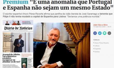 """<span class=""""entry-title-primary"""">Arturo Pérez-Reverte explica o seu iberismo a um jornal português</span> <span class=""""entry-subtitle"""">O escritor espanhol foi capa do jornal luso Diário de Noticias por uma entrevista</span>"""