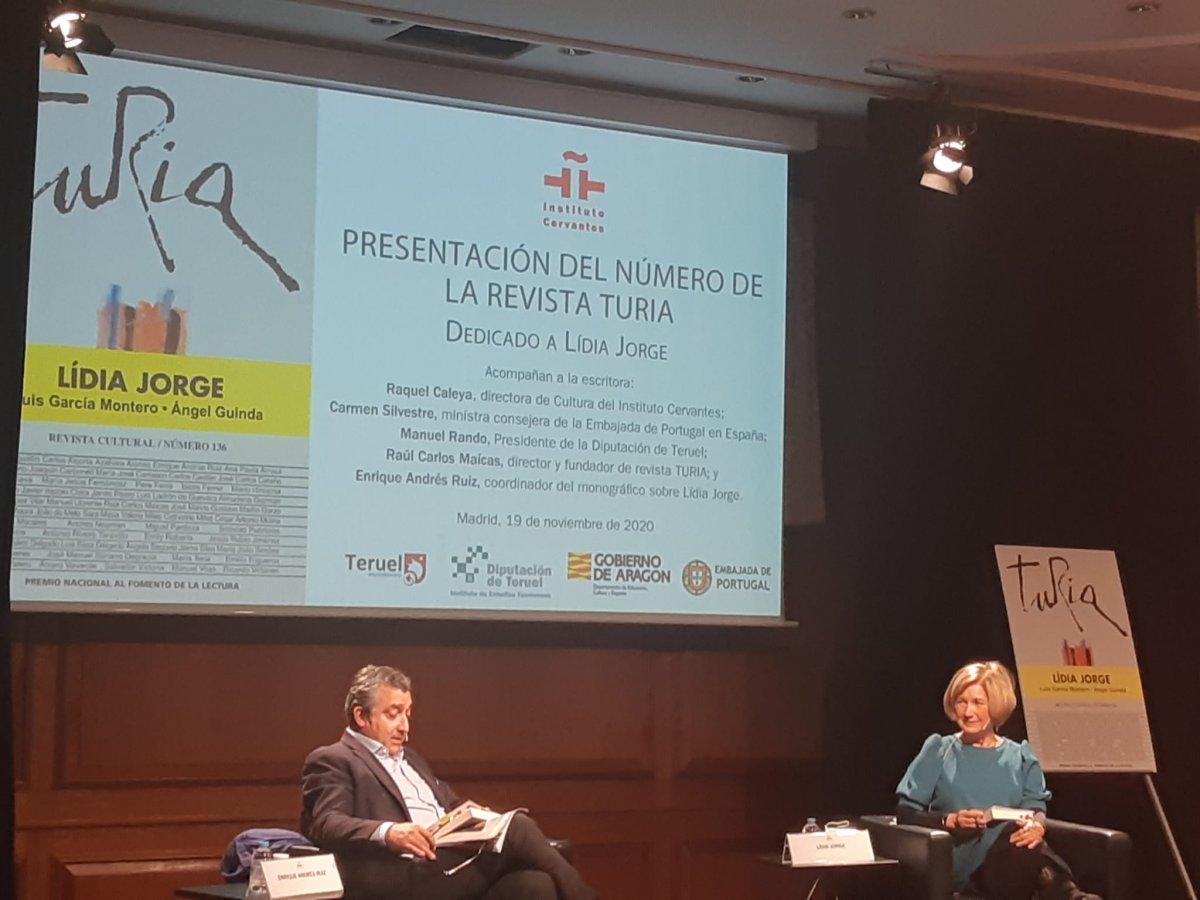 """<span class=""""entry-title-primary"""">Textos inéditos de Lídia Jorge en la revista Turia</span> <span class=""""entry-subtitle"""">El número 136 de la revista cultural homenajea a la escritora portuguesa que ha visitado Madrid durante la presentación de la publicación</span>"""